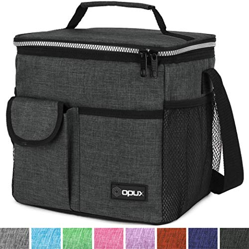 OPUX Lunch Bag Insulated Lunch Box for Women, Men, Kids | Medium Leakproof Lunch Tote Bag for School, Work | Lunch Cooler with Shoulder Strap, Pocket | Fits 20 Cans (Tall Charcoal)