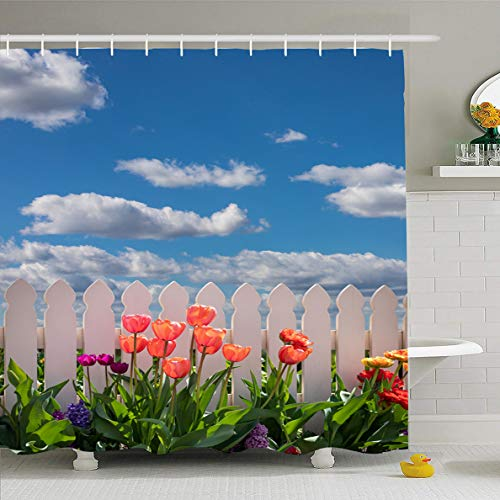 Ahawoso Shower Curtain 72x72 Inches Along Cheerful Tulips Garden White Picket Fence Bright Nature Flowers Gardening Happiness Happy Waterproof Polyester Fabric Bathroom Curtains Set with Hooks ()