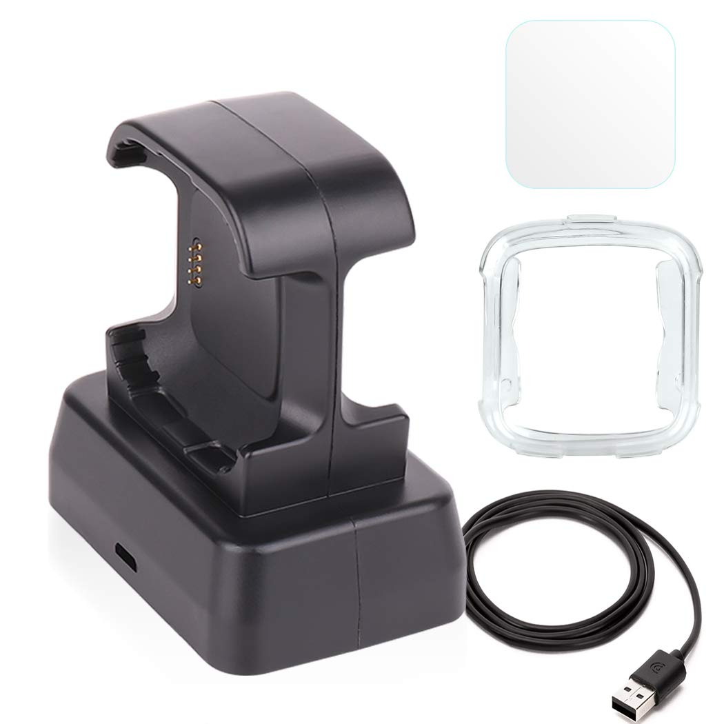 Moutik Versa Charger, Charger Dock+ Cover case + Screen Protector for Fitbit Versa Accessories kit Can Charge with Case Joe Electro