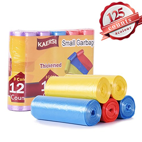 KAERSI Thicken Small Trash Bags for Office,Home Waste Bin, 4 Gallon, 125 Counts 3 Color (Viking Trash Compactor Bags)