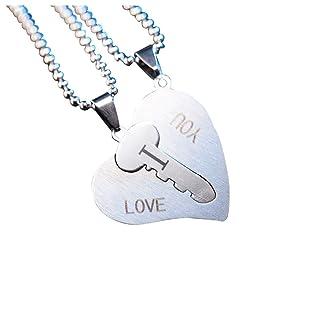 Outflower I Love You Collana della Coppia di Moda Creativa Collana a Forma di Cuore Collana di Lettera Inglese Regalo di Compleanno Regalo di San Valentino