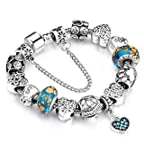 YYcharm Love Charm Bracelet & Bangle for Women with Heart Pendant Crystal Jewelry Christmas Gift