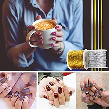Gold and Silver BTNOW 2 Spool 218 Yards// 656 Feet Metallic Cord Tinsel String Craft Making Cord