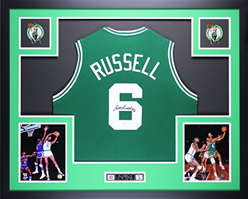 Bill Russell Autographed Green Celtics Jersey - Beautifully Matted and Framed - Hand Signed By Bill Russell and Certified Authentic by Auto JSA COA - Includes Certificate of Authenticity
