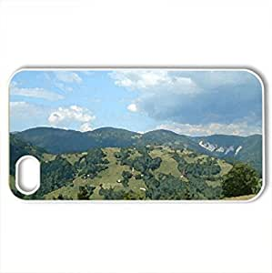 Beautiful view - Case Cover for iPhone 4 and 4s (Mountains Series, Watercolor style, White) by supermalls