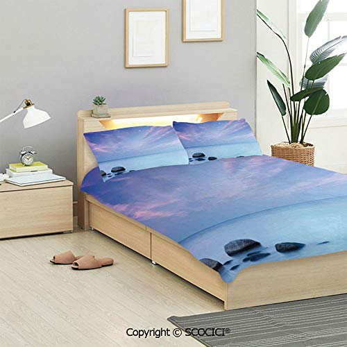SCOCICI Seaside Decor Bedding Sets (1 Duvet Cover 2 Pillow Shams) Baltic Sea Coast Autumn Sunset Evening View Boulders on Water Tourism Picture Duvet Cover Sets for Kids/Twin/Single All ()