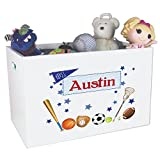 Personalized Sports Childrens Nursery White Open Toy Box