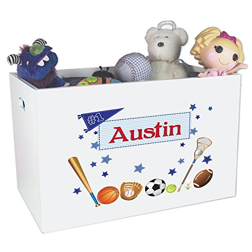 All Star Sports Toy Box - Personalized Sports Childrens Nursery White Open Toy Box