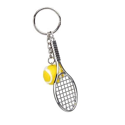 Llaveros Colgantes Decoraciones Mini Raqueta de Tenis Metal - Amarillo