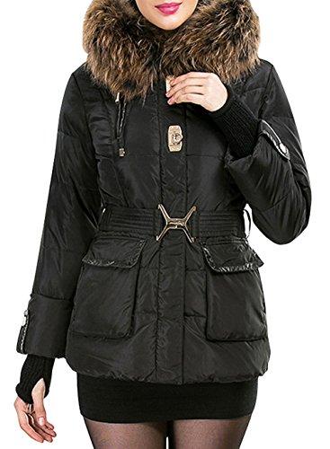 OU-XIN Women's Luxury Large Racoon Fur Trim Slim Fit Short Down Coat Jacket Black M