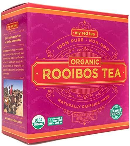 Rooibos Tea, USDA Certified Organic Tea, MY RED TEA. Tagless South African, 100% Pure, Single Origin, Natural, Farmer Friendly, GMO and Caffeine Free (80)
