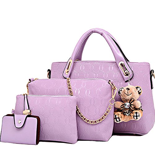 Hobo Tote Purple Handle Leather Women Card Holder Purse FiveloveTwo 4Pcs Top Large Satchel PU Yellow Set Shoulder Handbag Bag qxUfPwRf