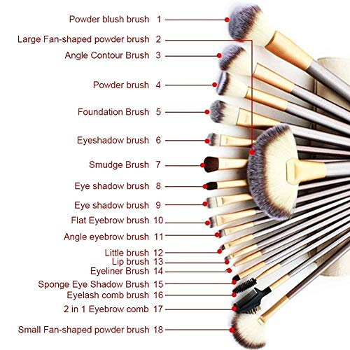 VANDER Makeup Brushes, 18PCS Professional Beauty Premium Synthetic Foundation Powder Makeup Brushes Sets, Champagne