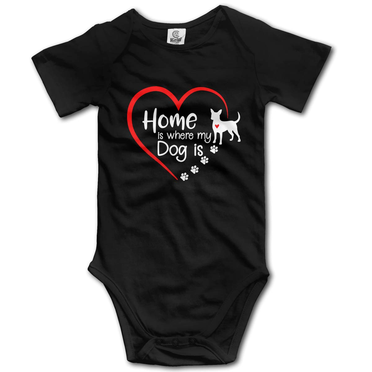 Home is Where My Dog is Infant Baby Boys Girls 100/% Organic Cotton Layette Bodysuit 0-2T