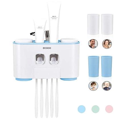 Dispensador automático de pasta de dientes y cepillo de dientes con montaje en la pared,