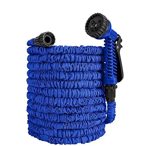 - Yh9u Expanding Garden Water Hose Pipe 100FT / 3 Times Expanding Flexible Magic Lightweight with 7 Function Spray Nozzle Hand Shower (Blue)