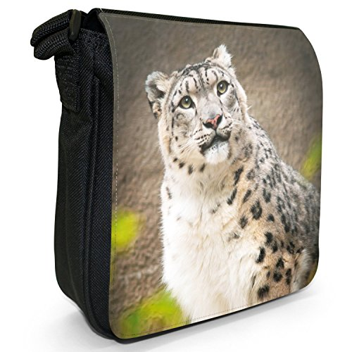 Black Small Size Cat Wild Portrait Snow Of Canvas Leopard Shoulder Bag A ZUnwf