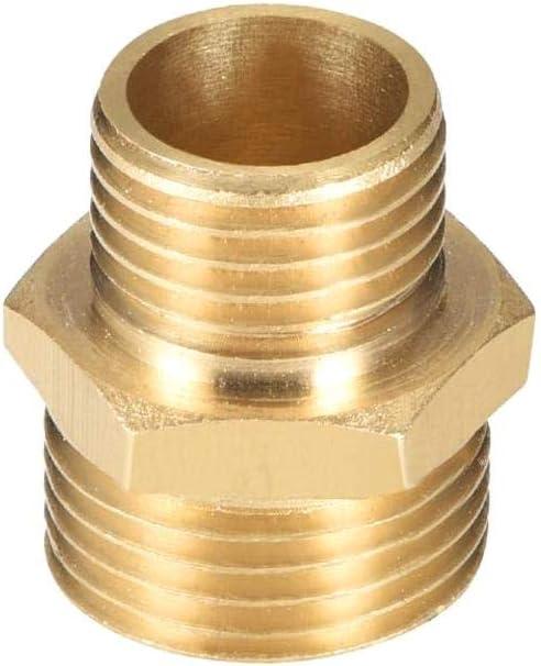 DULALA Conector Adaptador de Boquilla Hexagonal G 1//4 x G 3//8 Conector Macho Lat/ón Macho a Macho Tubo Recto Reducci/ón