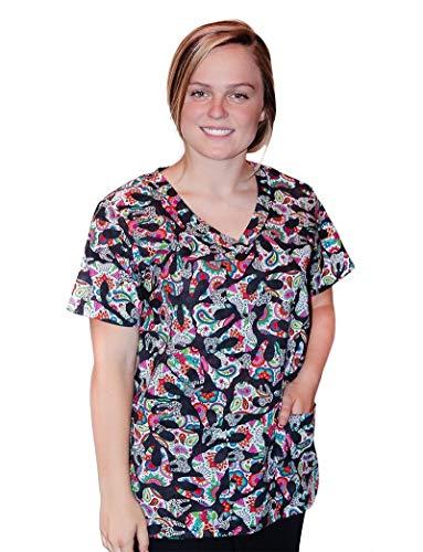 Tafford Uniforms Mad About Mouths Happy Teeth Black 2 Pocket Print Scrub Top