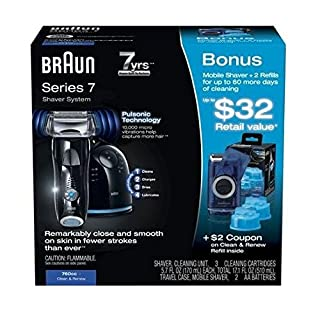Braun Series 7-760cc Clean & Renew Shaver System, Plus Bonus - 1 Travel Shaver, 2 Cleaning Cartridges. Limited Edition (B00X8NRLX0) | Amazon price tracker / tracking, Amazon price history charts, Amazon price watches, Amazon price drop alerts