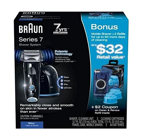 Braun Series 7-760cc Clean & Renew Shaver System, Plus Bonus - 1 Travel Shaver, 2 Cleaning Cartridges. Limited Edition (Braun 7 Cleaning Cartridge compare prices)