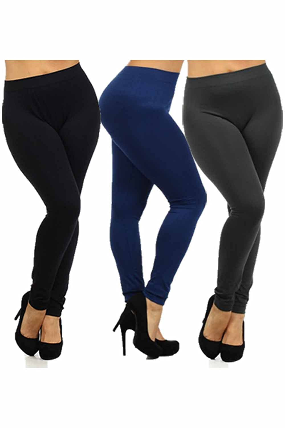 Women's Plus Size Basic Leggings 1X/2X and 3X/4X (1X, Black/Navy/Grey)
