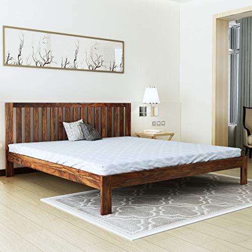 Home Edge Sheesham Wood Fultz Queen Size Bed Teak