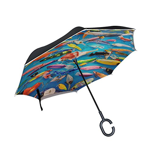 (QYUESHANG Double Layer Inverted Venice Biennial 2011 Fishing Hooks Umbrellas Reverse Folding Umbrella Windproof Uv Protection Big Straight Umbrella For Car Rain Outdoor With C-shaped Handle)