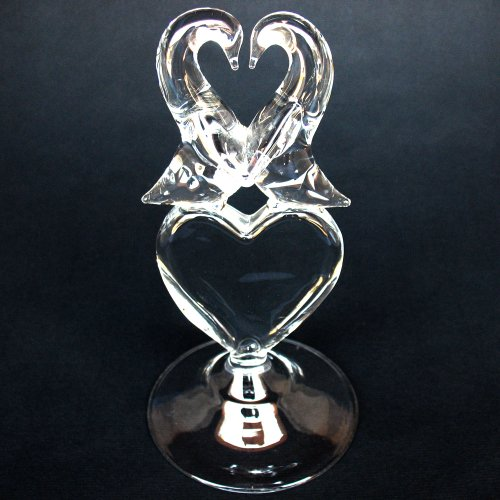 Hand Blown Glass Penguin Heart Wedding Cake Topper Crystal