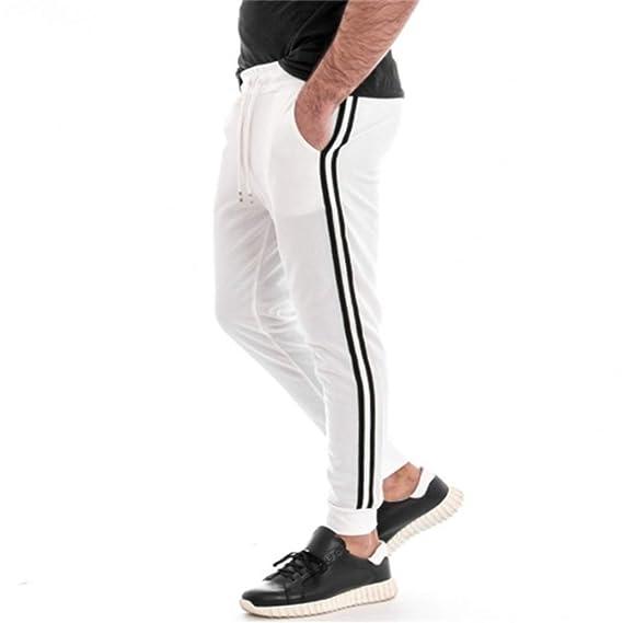 Pantalones para Correr para Hombre Otoño Invierno Raya ...