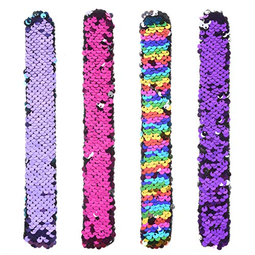 Slap Bracelets, 4 Packs of Small Mermaid Reversible