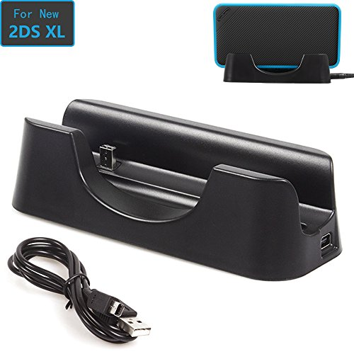 Advcer New 2Ds Xl Charger Dock  Usb Charging Stand And Vertical Storage Cradle 2 In 1 With Charge Cable For New Nintendo 2Ds Xl Ll 2017  Black
