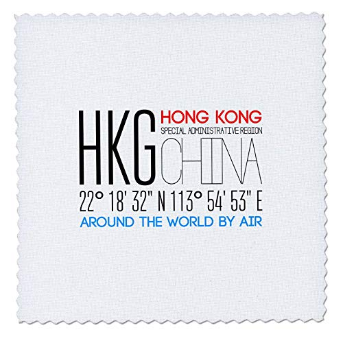 3dRose Alexis Design - Around The World by Air - Decorative Text HKG, Hong Kong, SAR, China, Geographic Location - 20x20 inch Quilt Square (qs_303797_8)