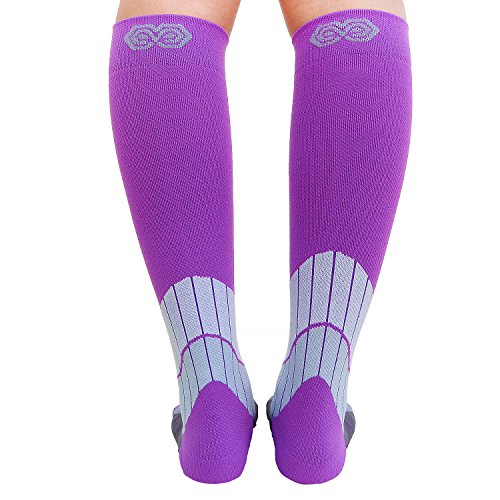Blitzu Compression Socks 15-20mmHg for Men & Women BEST Recovery Performance Stockings for Running, Medical, Athletic, Edema, Diabetic, Varicose Veins, Travel, Pregnancy Relief Shin Splint L/XL Purple by BLITZU (Image #9)