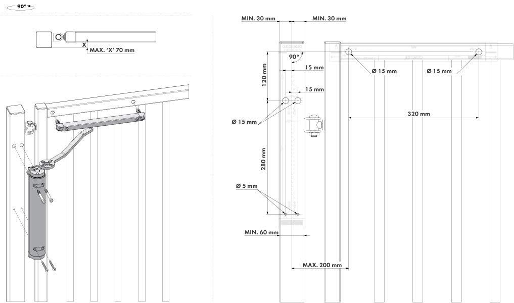 Verticlose2 ZILV Hydraulischer Torschlie/ßer f/ür 90/° /& 180/° B/änder