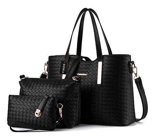 Tibes Fashion Pu Leather Handbag+Shoulder Bag+Purse 3pcs Bag Purse Black