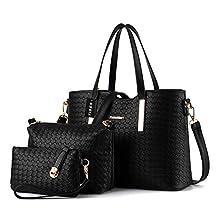 Tibes Fashion Pu Leather Handbag+Shoulder Bag+Purse 3pcs Bag Tote