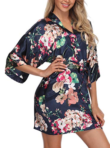 (Giova Women's Floral Kimono Robe Short Flower Print Dressing Gowns for Bride and)