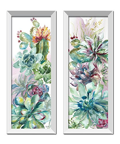 - Roaring Brook Beautiful Watercolor-Style Succulent Floral Panels by TRE Sorelle Studios; Two 6x18in White Framed Prints