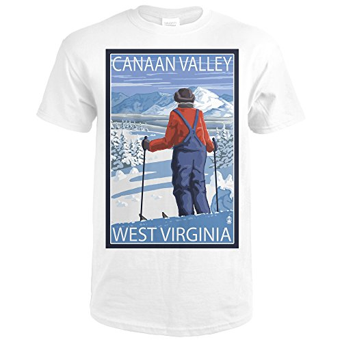 Canaan Valley, West Virginia - Skier Admiring View (Premium White T-Shirt - Valley Virginia View