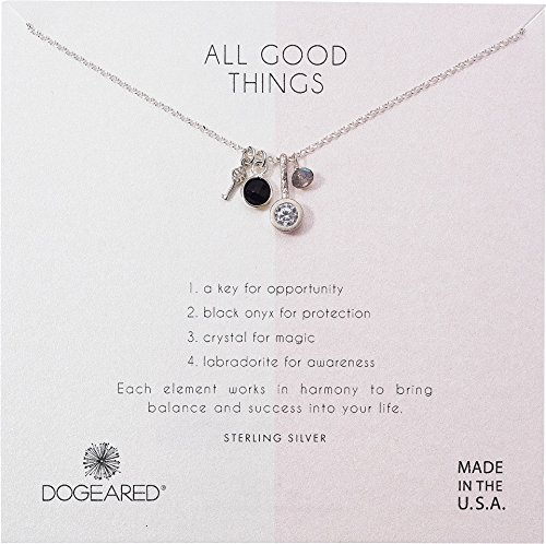 Dogeared Women's All Good Things, Black Onyx, Labradorite Cluster Necklace Sterling Silver One Size (Pendant Labradorite Crystal)