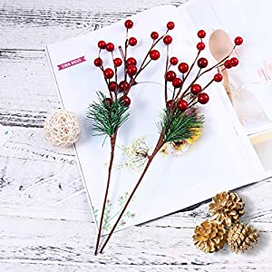 ULTNICE 10pcs Small Artificial Pine Picks Stimulation Berry Pine Needles Red Berry Flower Ornaments for Christmas Flower Arrangements Wreaths Holiday Decorations 5