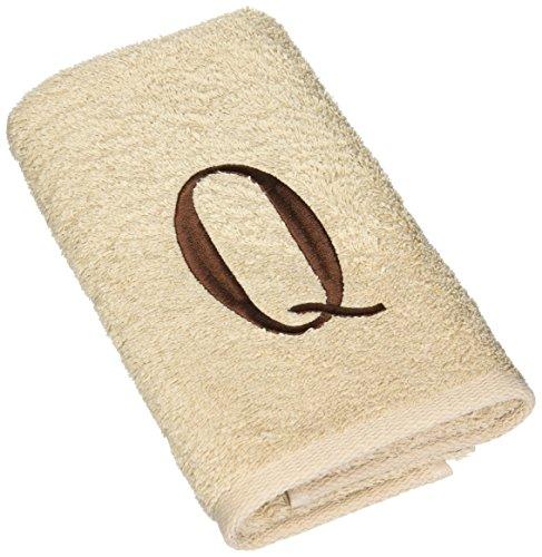 Avanti Premier Linen Block Monogram Hand Towel, Initial V, Brown - The towels are 100% cotton Fashionable decorative towel Top quality - bathroom-linens, bathroom, bath-towels - 51bXtFBgerL -
