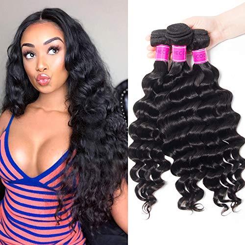 RECOOL Brazilian Loose Deep Wave Bundles 10a Virgin Hair Wet and Wavy Human Hair Extensions Natural Color Thick (14 16 18) ()