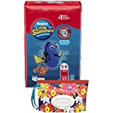 Huggies Little Swimmers Disposable Swim Diapers, Swimpants, Size 5-6 Large (over 32 lb.), 17 Ct., with Huggies Wipes Clutch 'N' Clean Bonus Pack (Packaging May Vary)