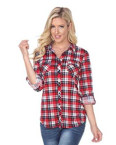 (White Mark Women's Roll Up Long Sleeve Plaid Button Down Casual Shirt in Red White & Navy - X-Large)