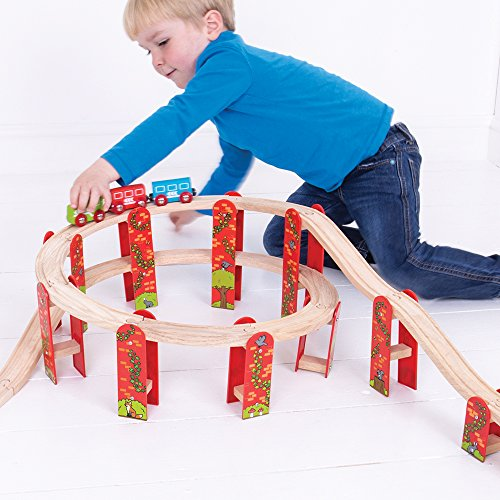 (Bigjigs Rail Wooden High Level Track Expansion Pack - 27 Pieces - Other Major Rail Brands are Compatible)