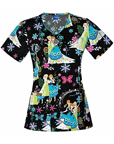 Tooniforms by Cherokee Women's V-Neck Frozen Print Scrub Top Medium Print (Halloween Scrubs)