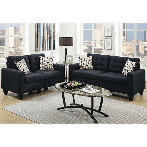 Modern Sofa And Loveseat In 2 Piece Set With Tufted Seat and Toss Pillows With Removable Legs plus FREE GIFT (Black)