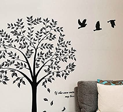 Birds Flying Black Tree Wall Sticker Vinyl Art Decal Mural For Home D??cor